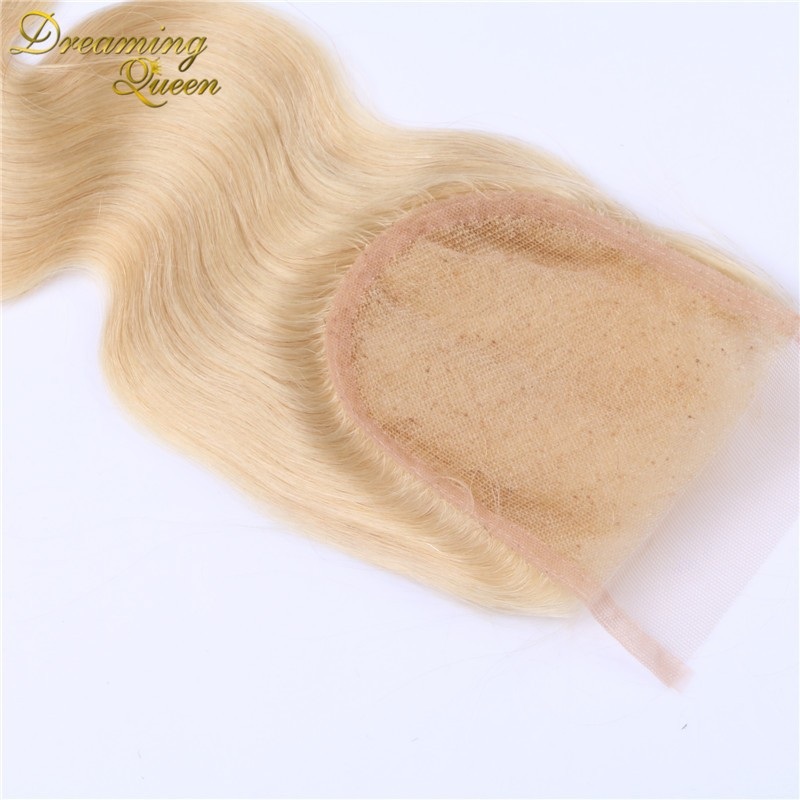 Top 7A #613 bleached knots 4*4inches size unprocessed 100% virgin remy hair blonde color swiss lace closure body wave extensions