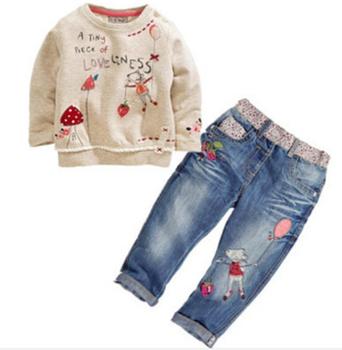Ccs191 бесплатная доставка 2015 новых детей мода осень одежда комплект мультфильм футболка + джинсы новорожденных девочек костюм детская одежда розничная