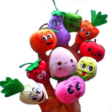 Hot Sales 10x Cartoon carrot orange Fruit Vegetables Finger Puppet Plush Toys Dolls Child Baby Favor Toys Gifts Free shipping #1(China (Mainland))
