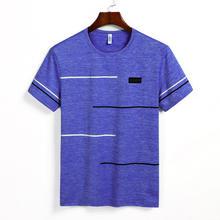 9XL Zomer T shirts Mannen Kleding Polyester Plus Size 5XL 6XL 7XL 8XL Mannelijke T-shirts Ademend Korte Mouw Strip Top tees O-hals(China)