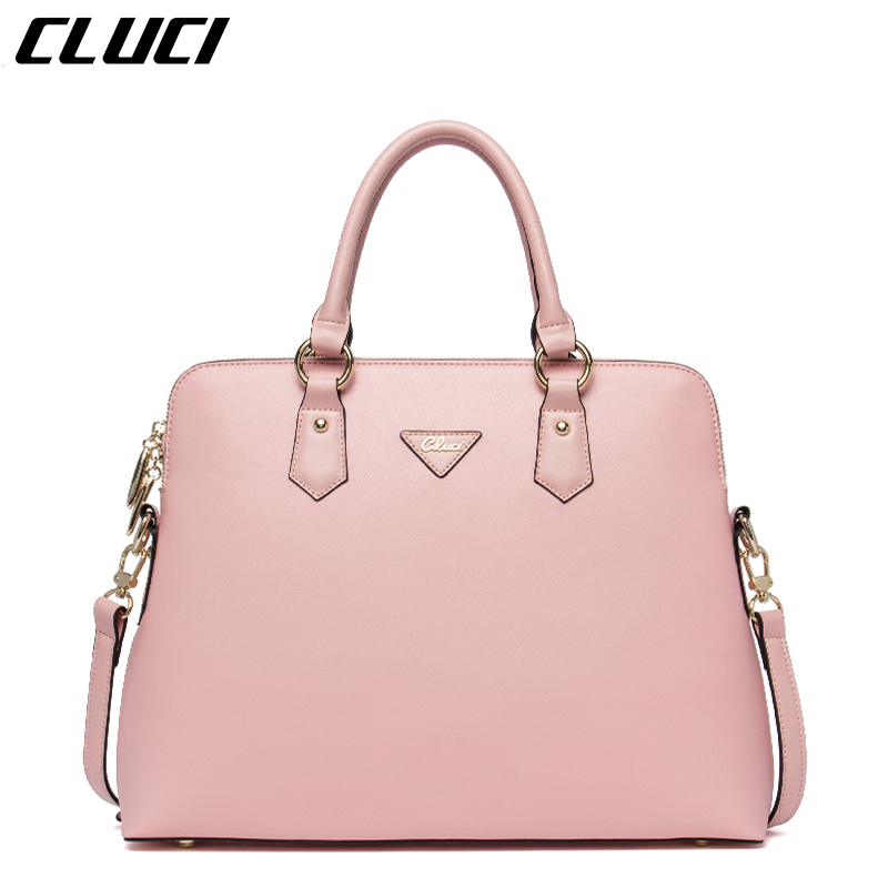 CLUCI Women Briefcase Leather Laptop Bag 37cm 1 Piece Pink/Black Fashion Office Business Briefcase Handbag with Shoulder Strap(China (Mainland))