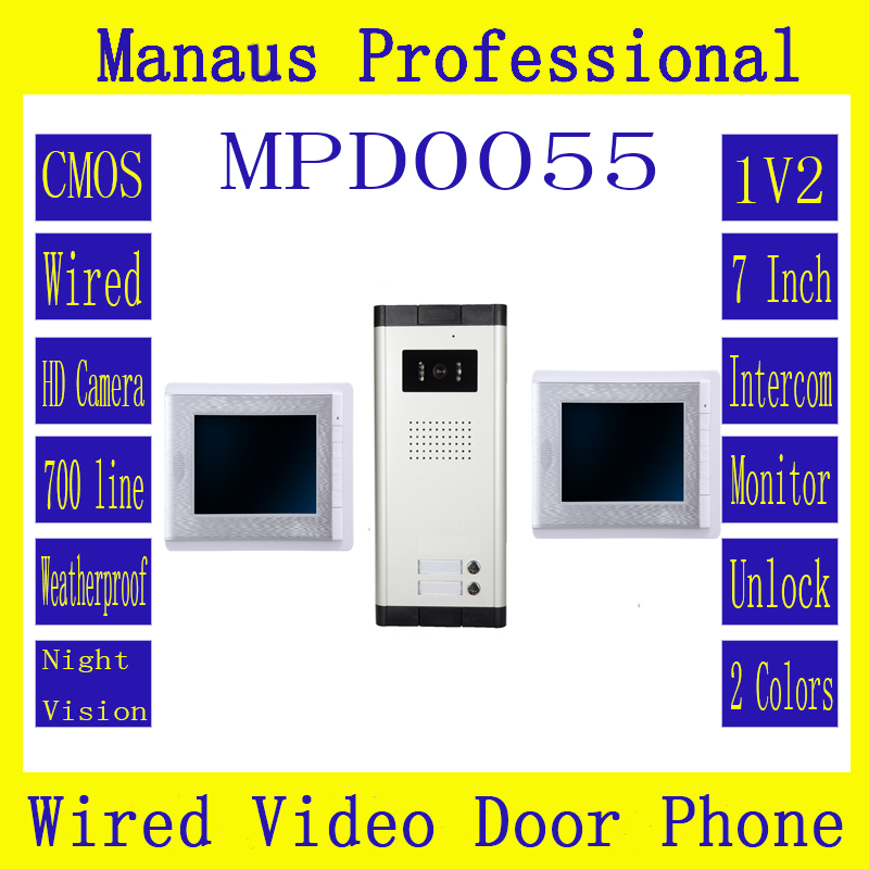 D55b Multi-storey residential buildings Double 7 inch digital color LCD Wired Indoor Monitor&Two buttons Video Door Phone(China (Mainland))