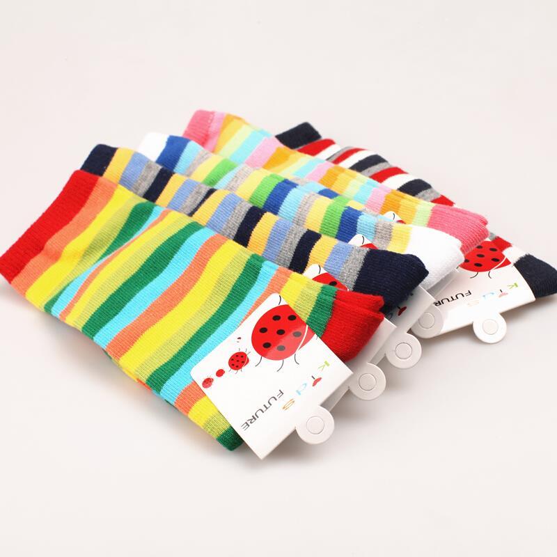 Fall Winter Baby Long Colored Stripes Knee Socks Cute Toddler Girl Socks Padded Terry Leg Warmers Baby Long Socks