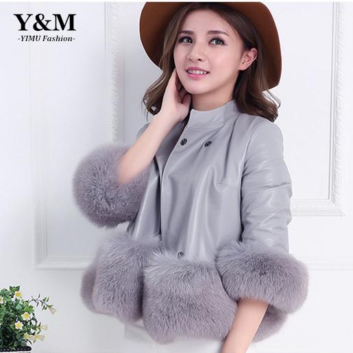 2015 New Winter Autumn Women Elegant Faux Leather Grass Coats Faux fur jacket Women's Fashion Short Outwear Coat plus size