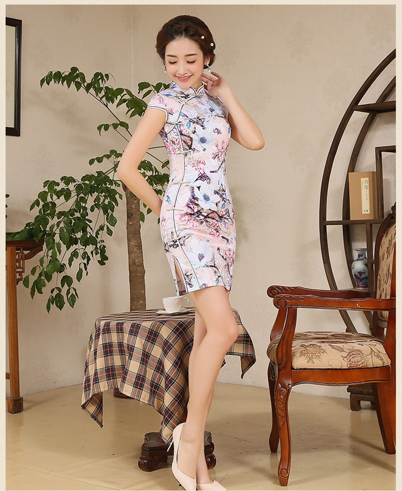 Vintage confortable pint dress Chinese Traditional sexy Dress Qipaon short Chinese Cheongsam smart gift women girl JS-MSF-0058