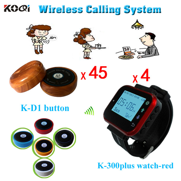 Paging Call System Restaurant Service Equipment Pager Portable Alarm Clocks Vibration 4 Watches With 45 Table Call Button(China (Mainland))