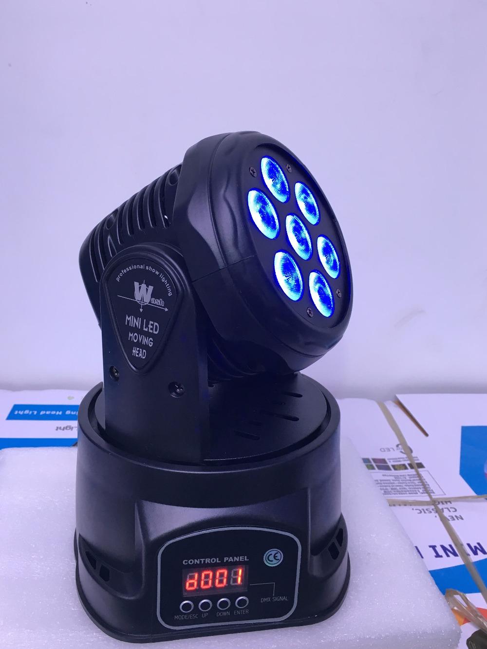 8pcs/LOT 7x12W Moving Head Beam Light Dmx Professional Lighting RGBW 4IN1 CREE LED Mini Moving Head Lighting(China (Mainland))