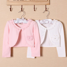 AZEL High quality kids cardigan to match dress outcoat cotton lace long sleeve pink sweater 2016 girls clothesfor 2 3 4 6 8 10 T