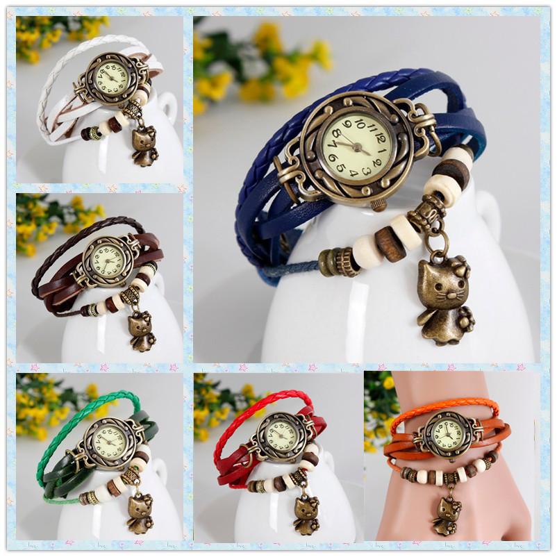 Genuine Leather strap Watch Vintage Girls Wrist Watch Girls Bracelet Wristwatches Hello Kitty Pendent Reloje Cartoon watches(China (Mainland))