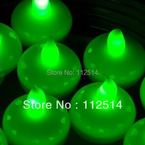 Led floating tea light candle green colour(China (Mainland))