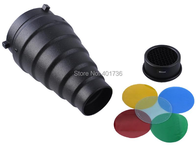 Aluminum Snoot Reflector Beam Tube+Honeycomb Grid+5 Color Gel Filter for Bowens Studio Strobe Flash Lights Monolight Photography(China (Mainland))