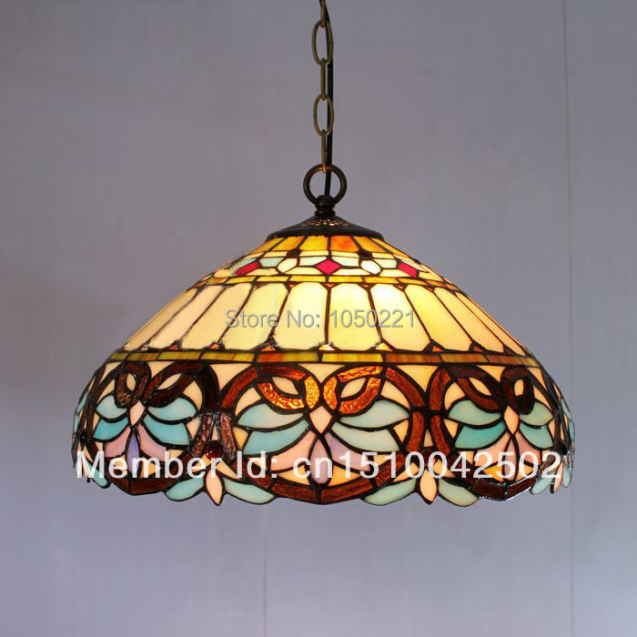 Tiffany Baroque Glass Pendant Lamp European Style Bar Coffee Shop Light Dia 40cm H 100cm(China (Mainland))
