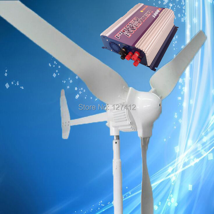 New Model 1KW Wind Power Generator 1000W 48V Wind Turbine with 3PCS Blades + 1000W Grid Tie Wind Inverter, 3 Years Warranty(China (Mainland))