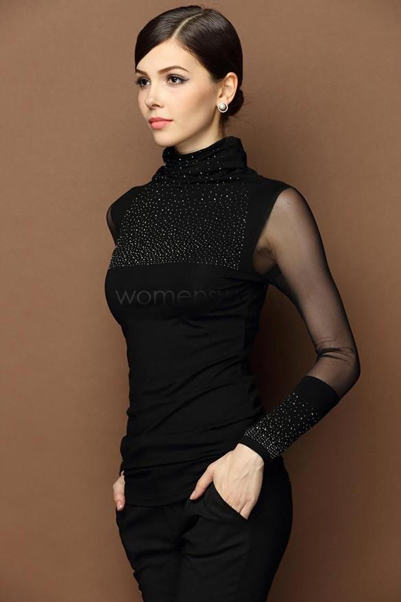 New women winter tops plus size lace turtleneck shirt for Long sleeve black turtleneck shirt