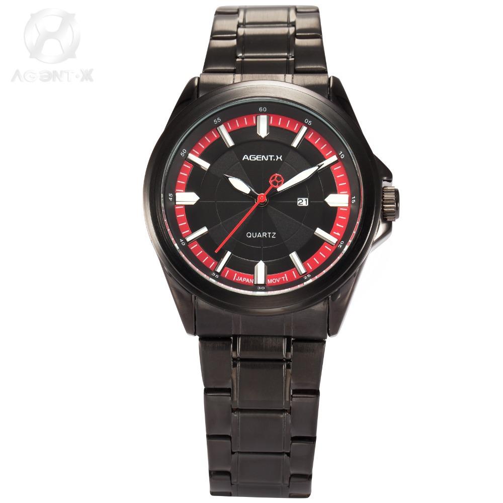AGENTX Full Steel Band relogio masculino Black Red Date Display Japan Movement Sport Quartz Military Men Wrist Watch/AGX124(China (Mainland))