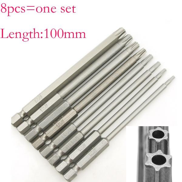 8Size/Set 100mm Length Magnetic Torx Screwdriver Bits Set Electric Screwdriver T8-T40(China (Mainland))
