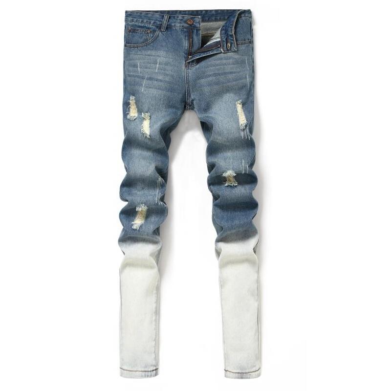 Brand Mens Jeans Straight Ripped Jeans For Men 2016 Zipper Fly Denim Bike Jeans Men Fashion Designer Pants Blue Jeans Homme