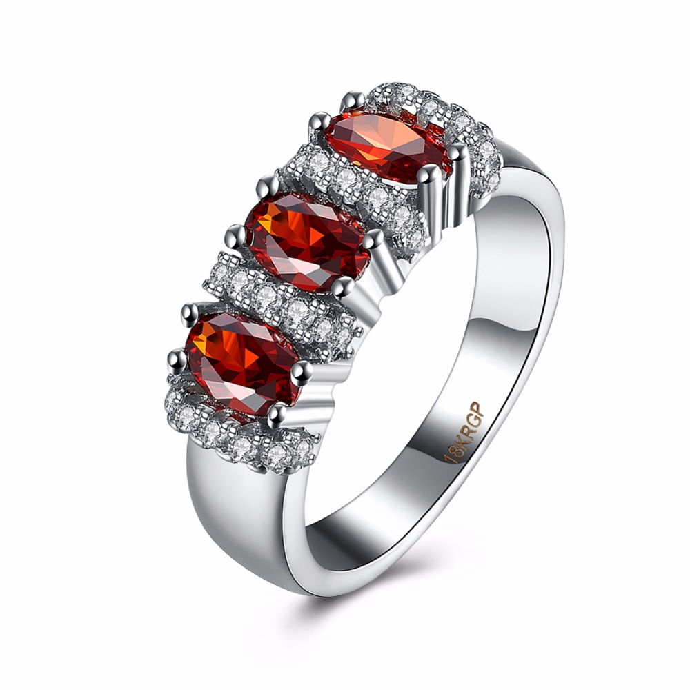 Unique Jewelry Red Oval Zircon Stone Ring 18KGP Stamp White Gold Plated Filled Wedding Engagement Rings For Women(China (Mainland))