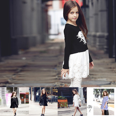 2015 hot autumn primary school clothes bodycon dress Girls Black chiffon girl dress(China (Mainland))