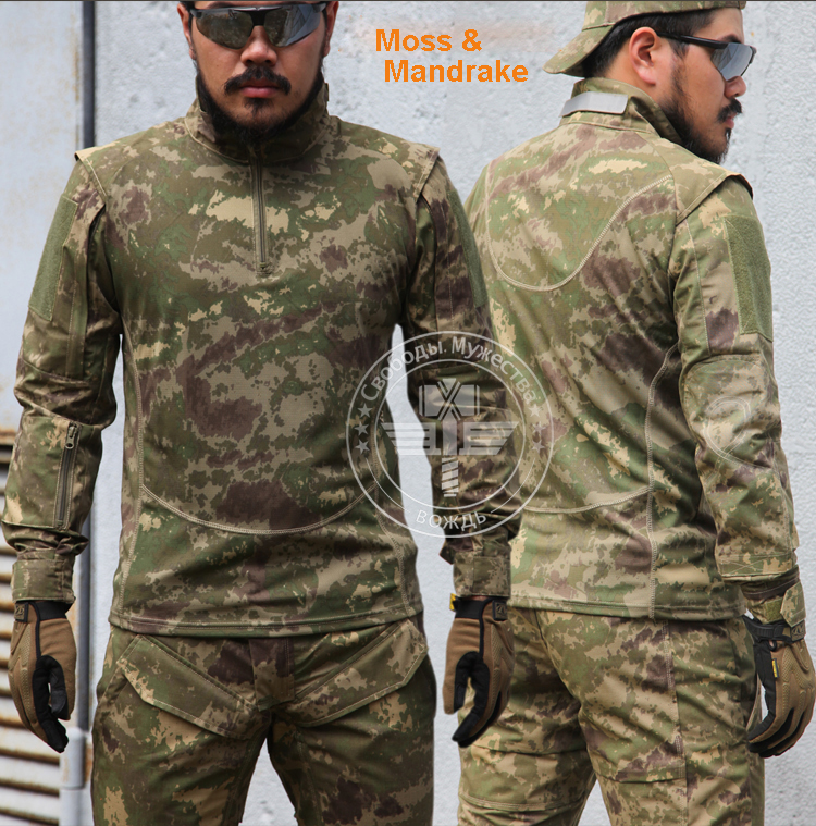 Moss & Mandrake Camo Combat Trainning Shirt long sleeve tactical shirt(China (Mainland))