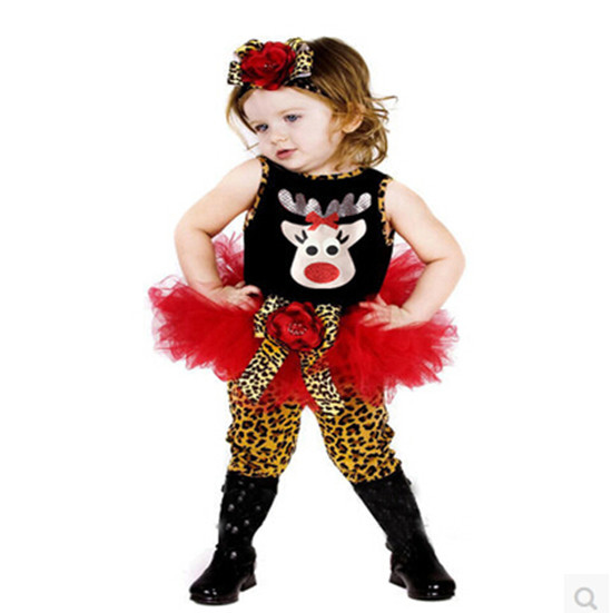 2015 new fashion children christmas clothing set baby girls Christmas costume deer dress+ leopard legging +hair bands 3pcs <br><br>Aliexpress