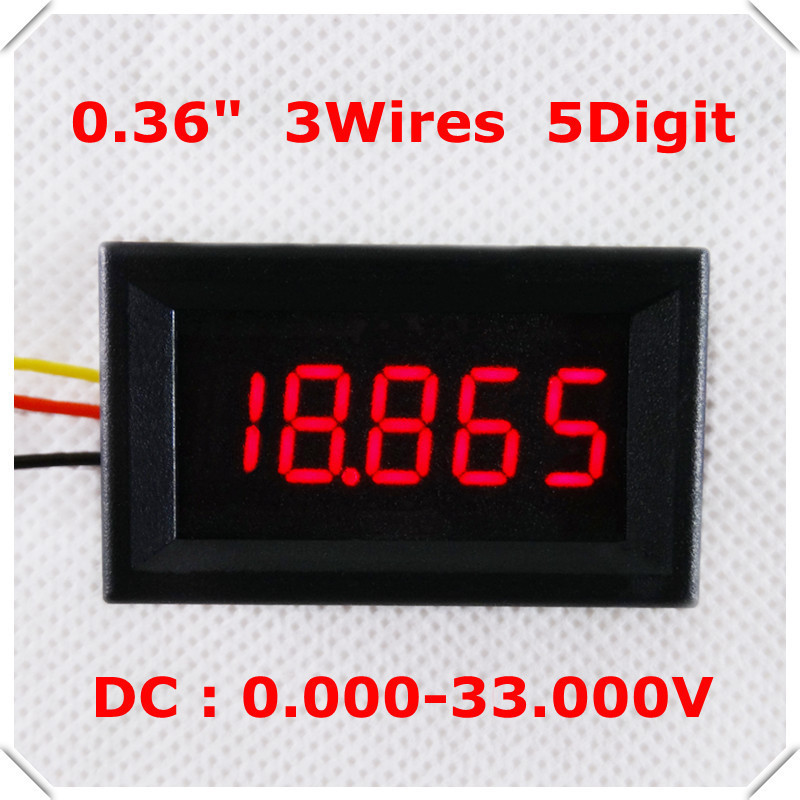 """DC 0-33V 0.36"""" Digital Voltmeter three Wires 5 Digit voltage Panel meter LED Display Color : Red [ 4 pieces / lot](China (Mainland))"""