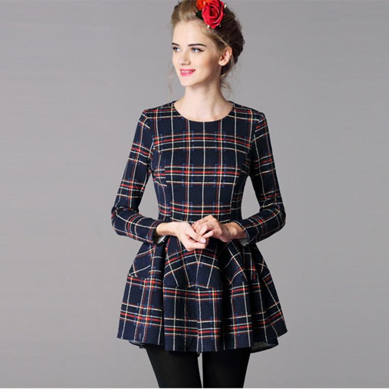 Vestidos Free Womens Apparel 2015 Dovetail Red Plaid Dress Scottish Style Aliexpress Uk Dexclusive Dresses Short Feminino 515015(China (Mainland))