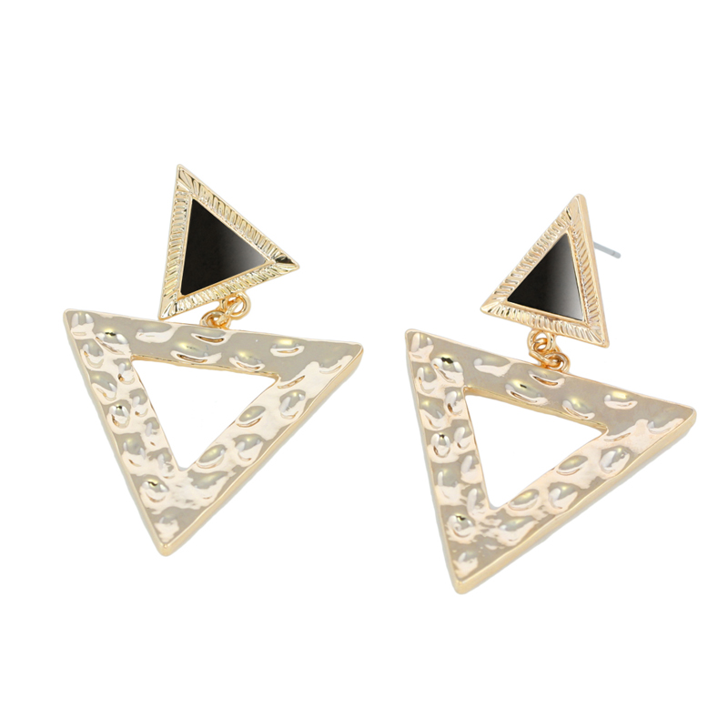 High Quality Big Gold Triangle Earrings Crystal Drop Earrings for Women Punk Gold Earrings 24k Fashion Jewelry 2016 New ersh84(China (Mainland))