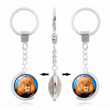 Buy XUSHUI Double Side Rotatable Animal Lion Glass Dome Keychain Pendant Fashion Jewelry Women Men Silver Metal Keychain Keyrings for $1.94 in AliExpress store