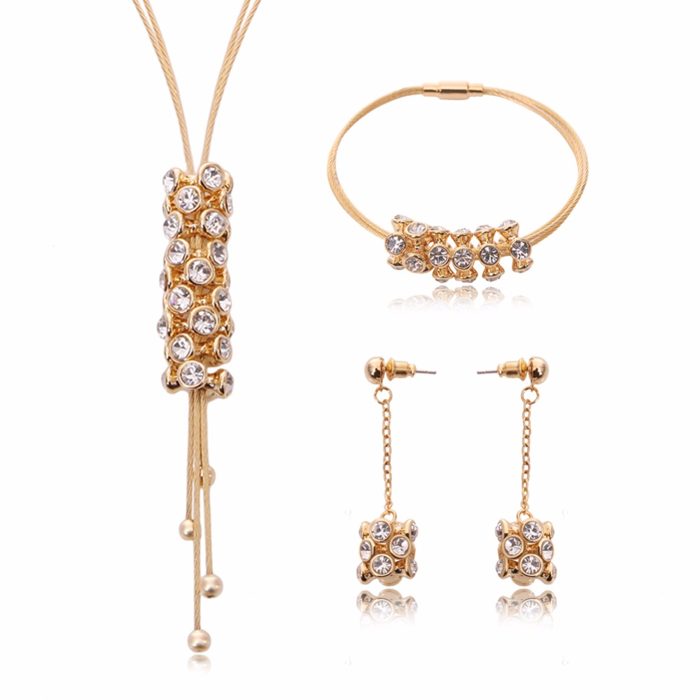 Austrian Crystal Pendant Necklace Earrings Bracelet Set Fashion Luxury Gold Plated Jewelry Sets For Women Wedding Jewelry Sets(China (Mainland))