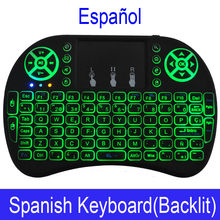 Bahasa Spanyol I8 Mini Keyboard 3 Warna Backlit I8 + Baterai Lithium Backlight Udara Mouse Remote Control Touchpad Handheld TV Box laptop(China)
