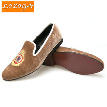 New Embroidered Pattern Men Shoes Turkey Crown Brown Velvet Shoes Men Big Size Loafer Men Flats Size 5-14 Free shipping(China (Mainland))