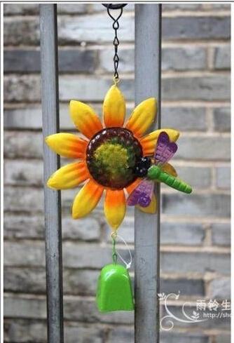 Free shipping,Home&Garden decoration ornament gardening store.wind chimes.ZAKKA grocery retro old wrought iron sunflower garden(China (Mainland))