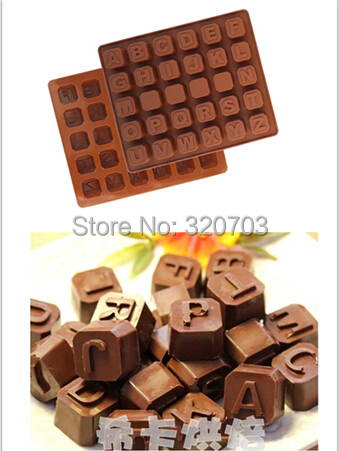 Classic Style 26 English alphabet Shape Silicone Chocolate Mold, Cookie, Ice Kitchenware D071(China (Mainland))