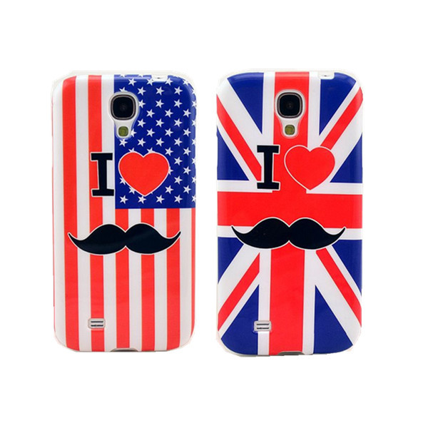 Love Mr Beard Mustache UK/US Flag Soft TPU Case Back Gel-Silicon Cover Samsung Galaxy S4 I9500 - APbest Electronic Store store