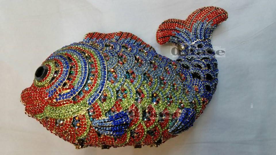 FISH Crystal color-J Lady fashion Wedding Bridal Party Night hollow Metal Evening purse Clutch bag handbag<br><br>Aliexpress