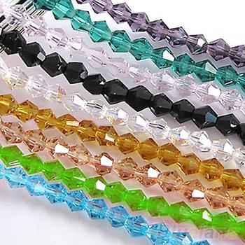 100pcs loose glass crystal bicone spacer beads 4mm Clear Black Green Blue U pick Colors 7ZWP