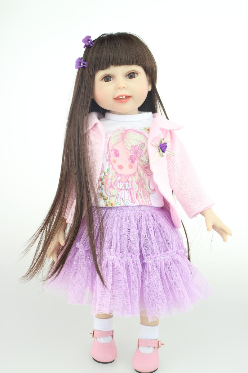 18inch 45cm  Sweet Cute Girl Toy Doll Lifelike Movable Vinyl Smiling Princess Lovely Dress American Girl Pink Coat Purple Dress<br><br>Aliexpress