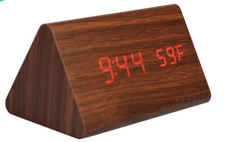 Wholesale Natural Brown Wooden Sound Control Clock Desk Snooz LED Alarm Clock Control Sensing With Thermometer & Package Box(China (Mainland))