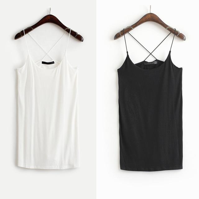 Fashion sexy cross small vest elastic modal solid color slim small vest basic shirt female b6103