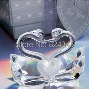Small s+Choice Crystal Collection K9 Kissing Swans Bridal Shower Favors+1+ - Romantic Wedding Gift Shop store