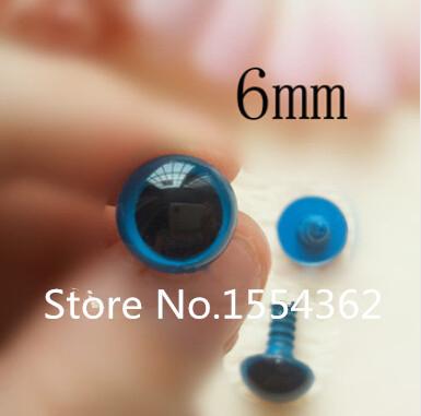 fress ship!!! 6mm Blue plastic teddy bear/toy eyes + safety backs(China (Mainland))