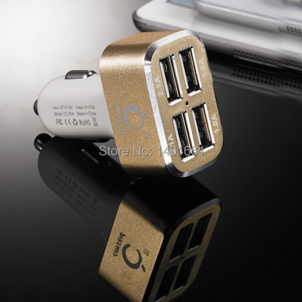 Newest 4 port USB Car Charger Metal power adapter 6.2 A car usb charger for iPhone iPad Samsung smartphones tablets(China (Mainland))