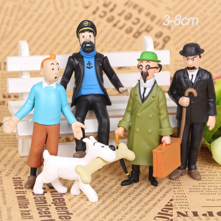 NEW hot 5pcs/set 3-8cm Adventures of  Tintins The Secret of the Unicorn tintin collectors action figure toys Christmas gift doll