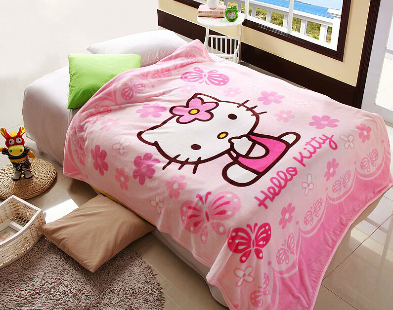 70*100cm Hello Kitty Coral Fleece anime Blanket on Bed fabric cobertor mantas Bath Plush Towel Air Condition Sleep Cover bedding(China (Mainland))