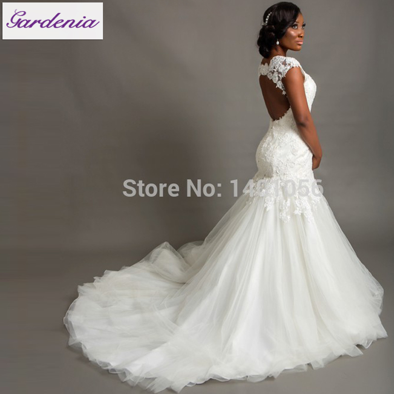 Vestido de noiva romantic short cap sleeve mermaid lace for Lace cap sleeve keyhole back wedding dress