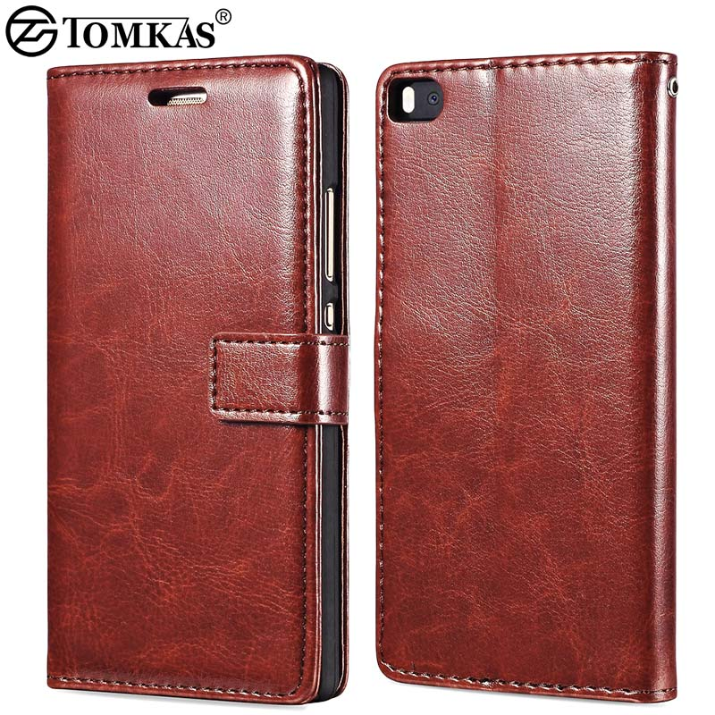 Flip Wallet PU Leather Case For Huawei P8 Coque With Stand Luxury Phone Bag Back Cover For Huawei Ascend P8 Tomkas Black Brown(China (Mainland))