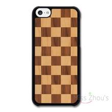 For iphone 4/4s 5/5s 5c SE 6/6s 7 plus ipod touch 4/5/6 back skins cellphone cases cover Wooden Effect Chequerboard Pattern