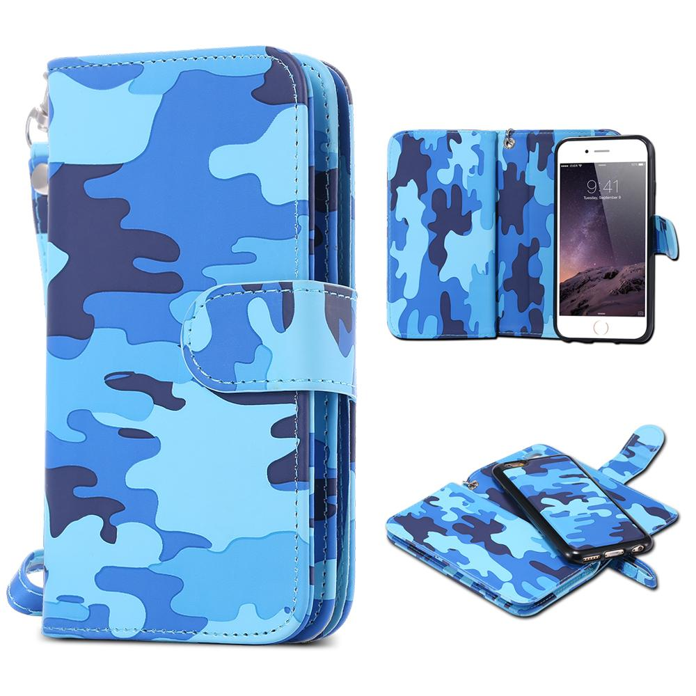 """2 in 1 Magnetic PU Leather Detachable Camouflage Wallet Flip Card Slot With lanyard Phone Bag Case Cover for iPhone 6 6S 4.7""""(China (Mainland))"""