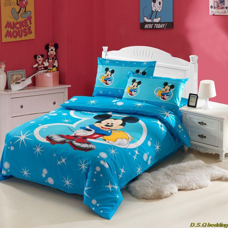 3pcs blue mickey mouse cartoon kids cotton print bedding